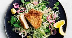 Sweet and mild white balsamic vinegar is delicious with lemon juice in a slaw. Paired with crispy pork cutlets - this meal is a low calorie favourite ready in just 30 minutes.