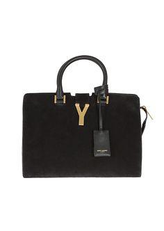 Saint Laurent Paris Handbags :: Saint Laurent Paris black suede Mini Cabas Chyc | Montaigne Market