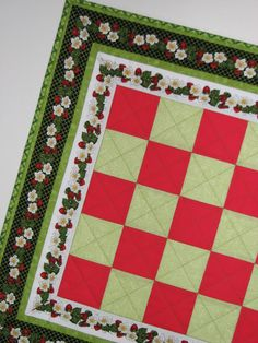 Quilted Table Topper Summer Strawberry Vines by VillageQuilts