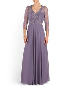 Illusion Top Gown With Lace
