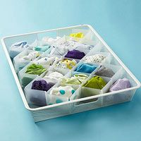 32 compartment drawer organizer...great for baby socks and could stack for another tray with other little items!