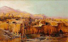 Peinture d'Algérie : Peintre Français,LÉON GEILLE DE SAINT-LÉGER (1864-1837),Huile sur toile, Titre : Scène de village