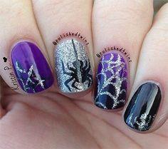 15-spooky-halloween-nails-art-designs-ideas-2016-12 Cute Halloween Nails, Nail Designs For Halloween, Halloween Acrylic Nails, Halloween Spider, Purple Halloween, Spooky Halloween, Happy Halloween, Halloween Ideas, Fall Nails