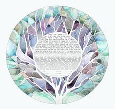 the painted ketubah - jewish marriage certificate