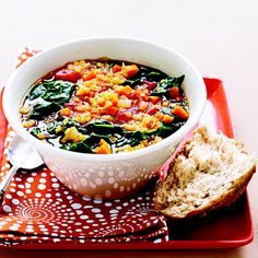 Look no further than lentil soup for a fiber-filled meal that's as delicious as it is healthy. Baby spinach adds extra nutrients and a pop of green. Get the recipe for Red Lentil and Vegetable Soup »  - GoodHousekeeping.com
