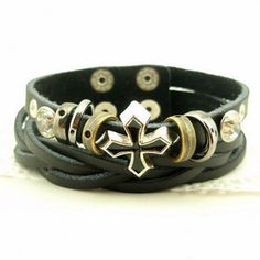 Punk Style Circles and Buttons Rhinestoned Corss Shape Wrap Leather Bracelet, BLACK in Bracelets | DressLily.com