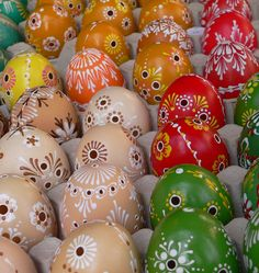 Cutwork and painted eggs. Easter Market, Slovakia