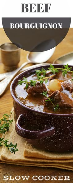 Slow cooked Beef Bourguignon is the most delicious French winter casserole. Designed to be the ultimate comfort food on a cold night. Goulash Recipes, Meat Recipes, Slow Cooker Recipes, Paleo Recipes, Crockpot Recipes, Cooking Recipes, Beef Goulash, Delicious Recipes, Slow Cooking