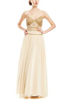 On ideel: AIDAN MATTOX Beaded Bodice Tulle Gown pretty!