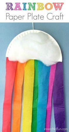 Rainbow Paper Plate Craft for Preschoolers