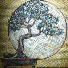 Beautiful bonsai mosaic.  Could not find orig artist?