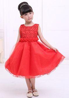 Sweet Sleeveless Round Neck Spliced Beaded Rose Embellished Full Dress For Girls