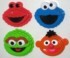 Sesame Street Characters Face Head 3D Stacking Puzzle Lot Oscar Cookie Monster Ernie Elmo Tyco 1996 $20