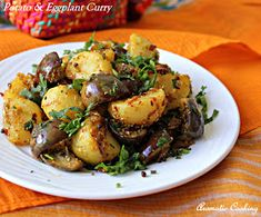 Another eggplant recipe.I bought a lot of little eggplants at the Farmers' Market. Aromatic Cooking: Potato And Eggplant Curry Brinjal Recipes Indian, Indian Food Recipes, Whole Food Recipes, Vegetarian Recipes, Cooking Recipes, Healthy Recipes, Aloo Recipes, Indian Foods, Indian Snacks