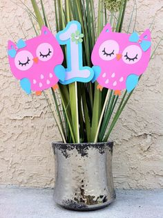 Owl Centerpiece Pink Turquoise Lavender Custom by MakelleDesigns, $9.00