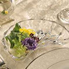 Crystal Crescent Side Dishes   No more crowding! This crystal salad plate fits around your plate.