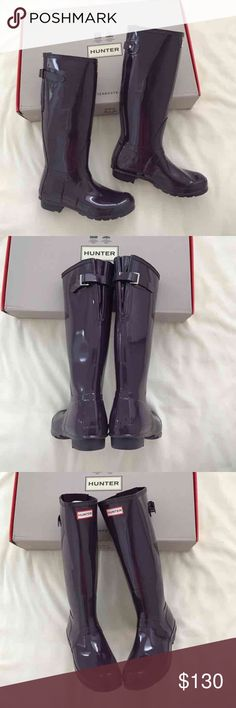 Dark purple tall Hunter Boots with adjustable back Some scuffs from wear. Like new condition. Loved them just didn't fit me Hunter Boots Shoes Winter & Rain Boots