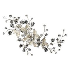 Silver Leaves Swarovski Crystal Bridal Hair Clip