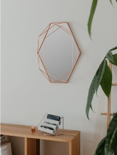 Geometrická forma rámu je vyrobena z ocelových drátů a dává zrcadlu podobnost s obrovským diamantem. Materiál: kov, zrcadlo; Rozměr: 43 х 9 х 56,8 cm.