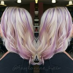 Blonde with purple highlights by Taylor Rae. hotonbeauty.com