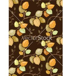 Repeating pattern with swirling autumn leaves vector - by moonkin on VectorStock®