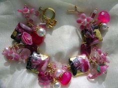 Valentine Monsoon Lampwork Charm Bracelet by Etsy designer WhiteTidelineDesigns