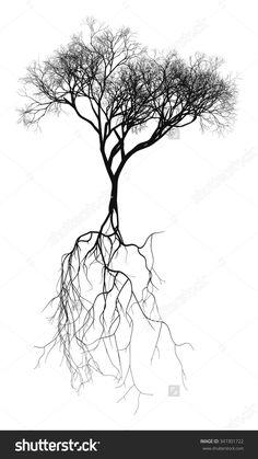 Bare tree drawing black and white ideas for 2019 Black And White Tree, Black And White Drawing, Montreal Tattoo, Tree Roots Tattoo, Tattoo Schwarz, Pop Art Wallpaper, Tree Sketches, Tree Tattoo Designs, Tree Graphic
