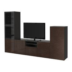 Ikea TV storage combination with softclosing doors and drawers blackbrown Selsviken high glossbrown clear glass 62022620233010 * Click for more Special Deals #Decor#HomeDecor#DecorIdeas#HomeDecorations