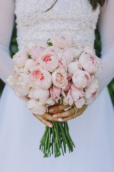pink peony bouquet - photo by Lara Hotz http://ruffledblog.com/tongue-in-cheek-whimsical-australian-wedding