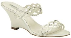 """Ivory Benjamin Adams Winona Bridal Shoes $199.00 """"A great look for a beach or garden wedding, these bridal shoes are so easy to wear with a wedge heel and slip-on style. The Swarovski crystals make them sparkle. Each shoe is made with white or ivory duchesse silk for a soft luster, and leather lining for comfort and structure. Heel measures 3 1/2"""" http://www.bellissimabridalshoes.com/Ivory-Benjamin-Adams-Winona-Bridal-Shoes-Prodview.html"""