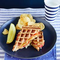 Waffled Tuna Melts - Using a waffle iron with bread to make sandwiches...genius! Toast on medium-dark for about 3 minutes.