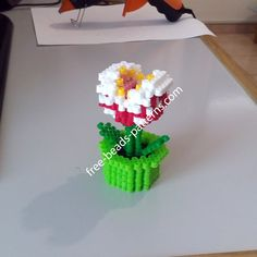 3D perler beads Piranha Plant from Super Mario work photos (6)