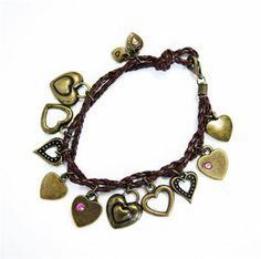 Brown Braided Leather Cord And Brass Charms Bracelet   Micheals.com