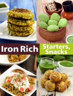 Iron Rich Snacks, Veg Iron Rich Starter Recipes - My list of the most healthy recipes Starter Recipes, Veg Recipes, Indian Food Recipes, Vegetarian Recipes, Snack Recipes, Healthy Recipes, Foods With Iron, Foods High In Iron, Iron Rich Foods