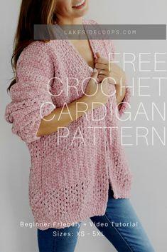 Crochet Cardigan Pattern Free Women, Crochet Jacket, Crochet Blouse, Crochet Patterns, Crochet Shrug Pattern, Easy Crochet, Knit Crochet, Crochet Sweaters, Velvet Cardigan