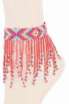 Acrylic seed bead fringe anklet - Fierce Berry - Anklet - Art Box - 2