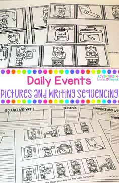 Viewing pictures and practicing retelling and sequencing of events is an important skill in Kindergarten and First Grade. Each of the 16 events in this bundle are a part of everyday events with four, five or six sequencing pictures. These sequencing pictu Kindergarten Lesson Plans, Kindergarten Teachers, Elementary Teacher, Reading Centers, Literacy Centers, Writing Centers, Teaching Writing, Teaching Resources, Sequencing Pictures