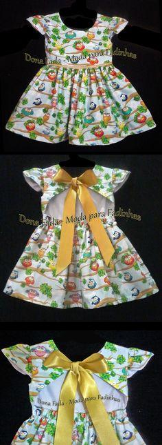 Vestido Corujinhas - costas abertas- 18 meses - - - - - - baby - infant - toddler - kids - clothes for girls - - - -----------------------------https://www.facebook.com/dona.fada.moda.para.fadinhas/