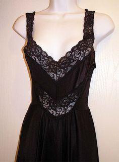 VINTAGE Black Lace Nightgown Lingerie Maxi by ClothesClosetBoutiq