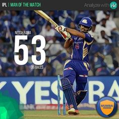 Nitish Rana was instrumental yet again for MI against GL! He played a superb knock!  #IPL10 #IPL2017 #MIvGL #cricket