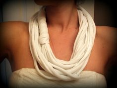 White Recycled Tshirt Infinity Scarf