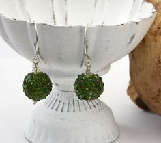 Green lampwork beads and sterling silver earrings