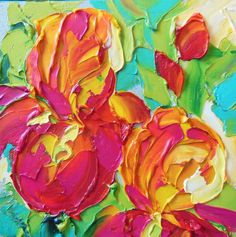 Orange Iris Iris painted on 6x6 VERY wide edge gallery wrapped canvas in impasto oil technique with brush and palette knife.  Jan Ironside
