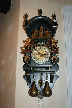Folklore Dutch Hindeloopen Painted Wall Clock