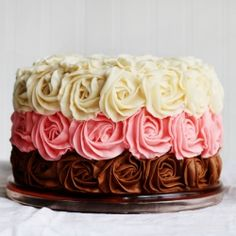 Neapolitan Rose Cake with a surprise inside. #foodgawker
