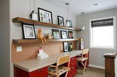 Stylish Kids Study Space with White and Red Shared Study Desk and Shelves