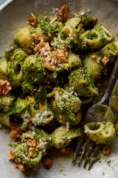NYT Cooking: Pesto becomes more full-bodied with the addition of broccoli that's blanched in the same pot as the pasta … Pasta With Walnut Sauce, Pasta With Walnuts, Vegetarian Recipes, Cooking Recipes, Healthy Recipes, Cooking Bacon, Pesto Pasta Recipes, Walnut Pesto, Healthy Pastas