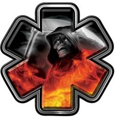 Grim Reaper Fire Rescue EMS Decal with Star of Life in Fire