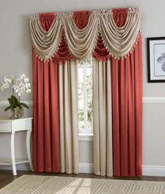 Hyatt Curtain Set Berry Red Antique Taupe