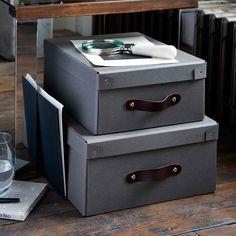 28x35x14 cm 33x45x17cm Black, Gray  Storage Box With Leather Handle | Bigso recycled fibreboard
